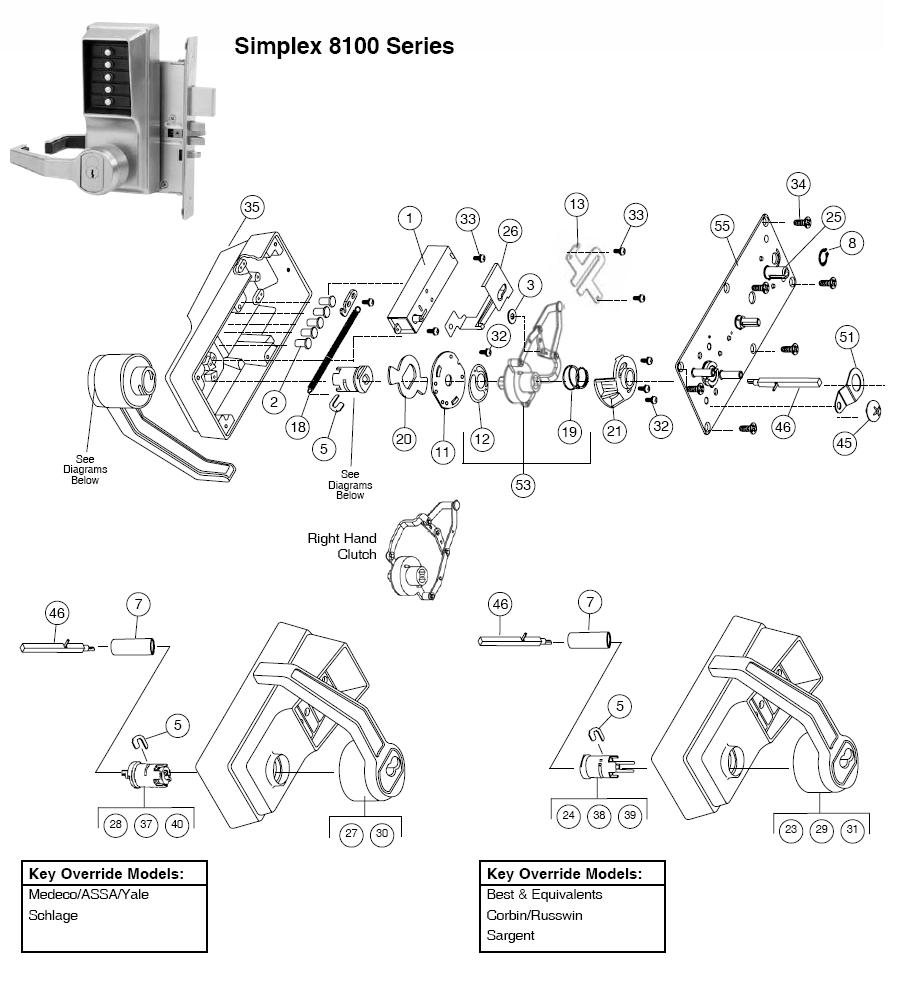 simplex 8100 parts  assured lock keyless  u0026 locker lock