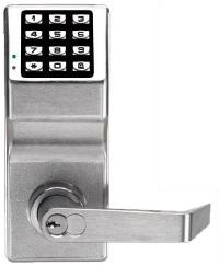 Alarm Lock Trilogy Lever W/ Schlage Cyl. Weather Proof Satin Chrome For 2 Inch Thick Door