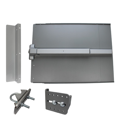 ED41 Edge Panic Shield Value Kit Powder Coated Silver With PB1100 33 Exit Device