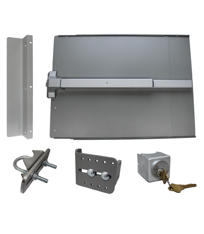 """ED51 Edge Panic Shield Safety Kit Powder Coated Silver With PB1100 Exit Device 33"""""""