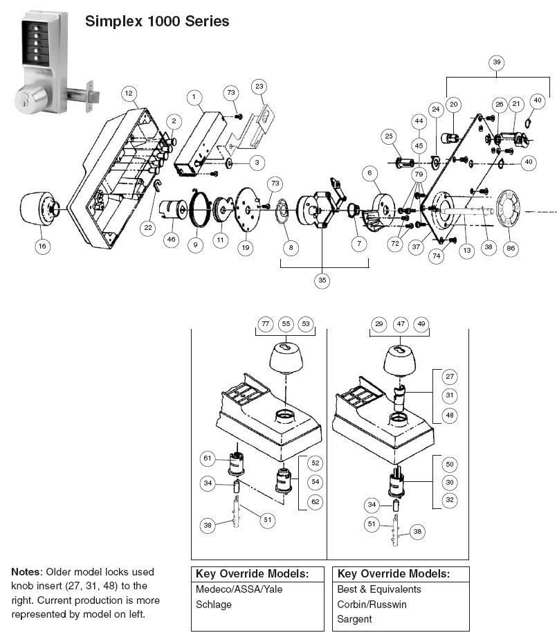 simplex 1000 series parts