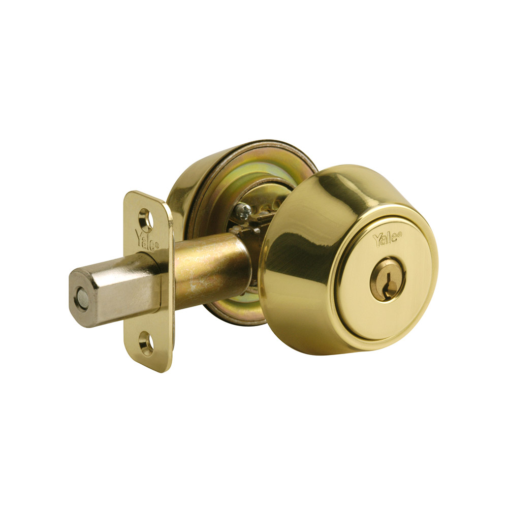 Yale Residential 853 Polished Brass YH Series Grade 2 Double Cylinder Deadbolt x Adjustable Radious